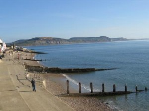 The seafront at Lyme Regis, looking east to the Jurassic Coast.